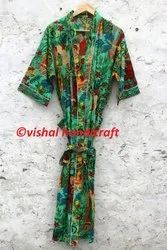 Frida Kahlo Long Cotton Kimono Bath Robe Gown Dress