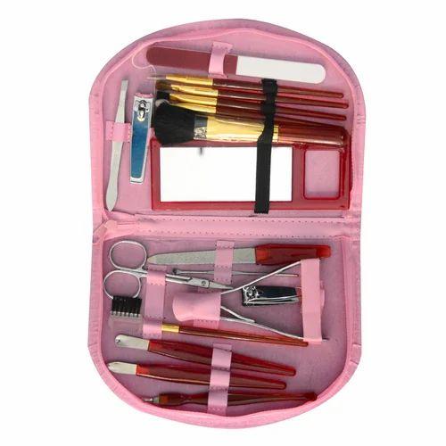 bde8bc209fc 18 PCs Compact Manicure Pedicure Brush Set   Grooming Kit Wi ...