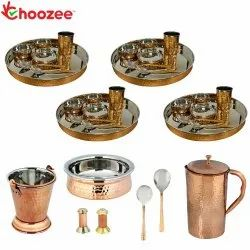 Choozee - Set of 4, Stainless Steel Copper Thali Set with Serveware & Hammered Copper Jug (35 Pcs)