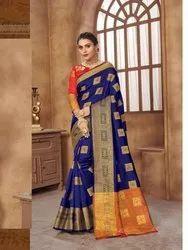 Designer Royal Blue Heavy Silk Saree