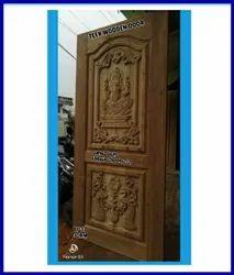 Teak Wooden Door - Vinayagar With Peacock Model