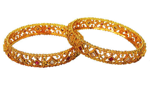 Traditional Golden White & Red Stone Bridal Bangles