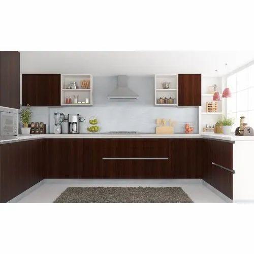 Brown To White Kitchen Cabinets: Shree Ram Enterprise Dark Brown & White Modular Kitchen