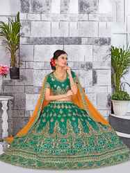 PR Fashion New Heavy Designer Green & Yellow Lehenga Choli