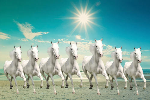 Natural Canvas 7 White Running Horses With Sunrise Painting Rs 2800