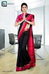 Black with Red Border Uniform Saree