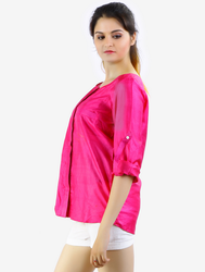 38 Pink Folded Sleeve Front Open Top