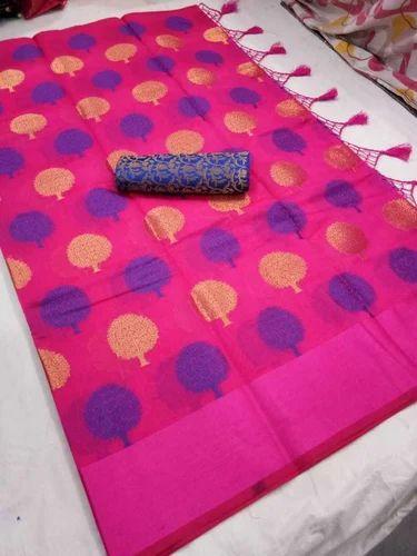 Banarasi Handloom Linen Cotton Soft Silk Sarees