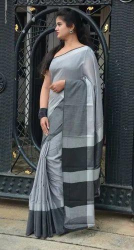 Plain Linen Saree, Length: 6.3 m (with Blouse Piece)