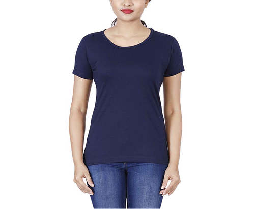 33d5d301 Women's Round Neck Half Sleeves Navy Blue Color Plain T-Shirts, Rs ...