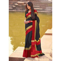Cotton Designer Saree with Blouse Piece, Length: 6 m