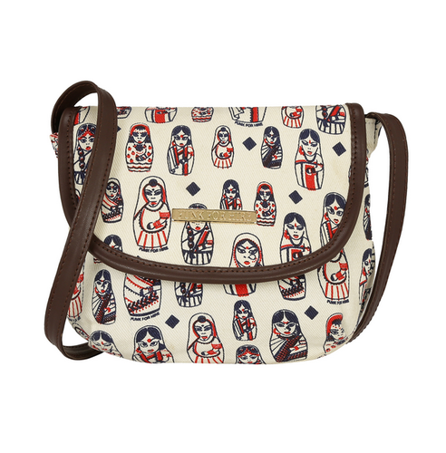 283974a4d561 Funk For Hire Women Doll Printed White Cotton Canvas Mini Sling at ...
