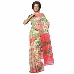Embroidered Party Wear Jamdani Silk Saree, Packaging Type: Packet, 6.3 m (with blouse piece)