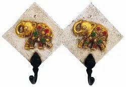 Fiber Double Elephant Key Hook White/Black/Gold