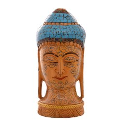 Handmade Wooden Buddha With Turquoise Stone, Size: 6 inch
