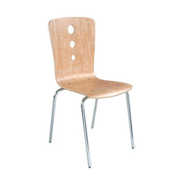 Stainless Steel and Wooden Armless Office Executive Chair