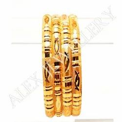 Round Golden Gold Plated 4 Pcs Brass Bangle