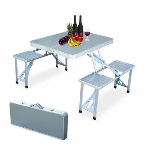 Heavy Duty Aluminium Portable Folding Picnic Table Chairs Set At Rs 4000 Piece Lakdikapul Hyderabad Id 21073431462