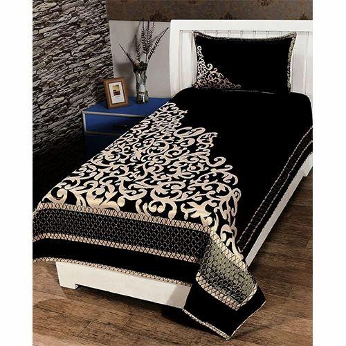Chenille Single Bedsheet Black Chenille Single Bedsheet