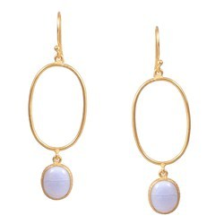 Silver Brass Gold Plated Big Oval Dangle Natural Blue Lace Agate Gemstone Boho Handmade Earring