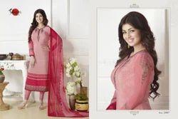 Embroidered Full Sleeve Suhati Salwar Suit Fabric