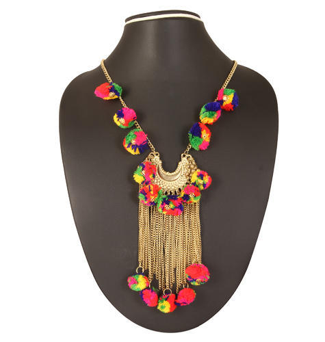 Adoreva Multicolour garba navratri woolen gota necklace for women