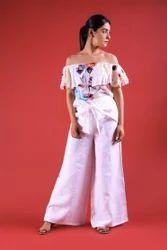 Waist Wrap Palazzo Pant Trouser  Cotton Linen Boho Jumpsuit