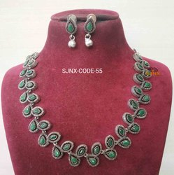 COPPER Party Wear silver necklace set