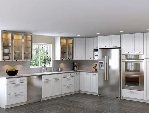 L Shape Stainless Steel Modular Kitchen, Warranty: 1-5 Years