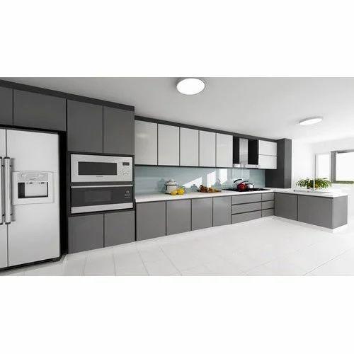 Grey L Shape Modular Kitchen, Rs 1800 /square feet Euro ...