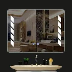 Rectangle Wall Mounted LED Bathroom Mirror With Warm White LED Lights Dimmer Defogger