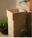 Inner - 42cm, Outer - 46cm Stone Premium Pedestal Square Wash Basin