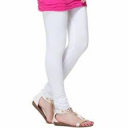 Ladies White Cotton Churidar Legging