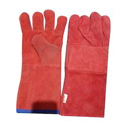 Unisex RED Safety Gloves, Size: Large