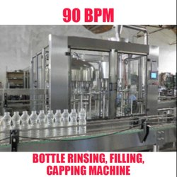 90 BPM Mineral Water Bottle Rinsing, Filling, Capping Machine.