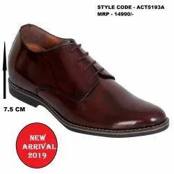 Burgundy Formal Dual Tone Brush Off Glossy  Height Increasing Leather Shoes for Men