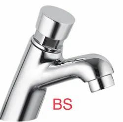 Silver Stainless Steel Auto Closing Pressmatic Push Pillar Cock Faucet Tap, For Bathroom Fitting