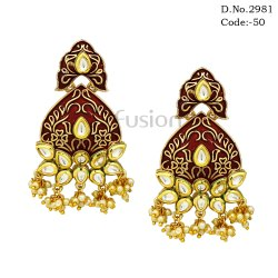 Traditional Pearl Meenakari Chandbali Earrings