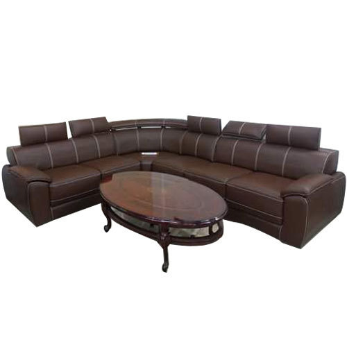 Brown L Shape Sofa With Center Table