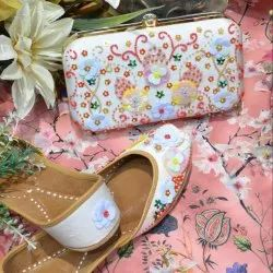 Shippi Zari Jutti With Matching Clutch