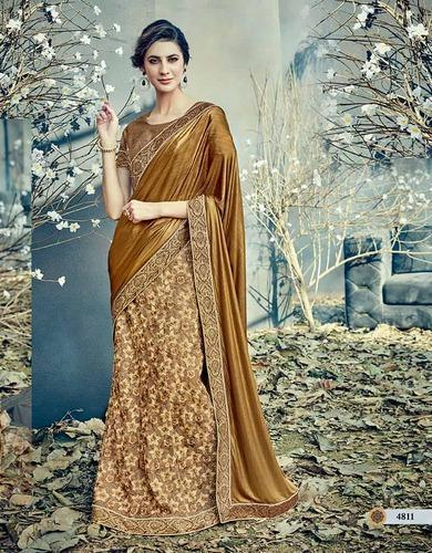 20ae7fdff46 Stunning Beige Fancy Net, Lycra Designer Party Wear Saree