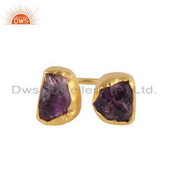 Nugget Design Gold Plated Silver Amethyst Gemstone Rings