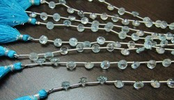 Natural Blue Topaz Onion Shape Faceted Beads.