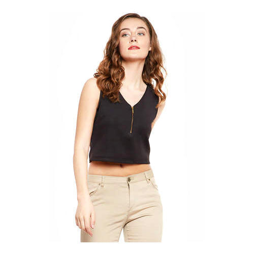 0da38c043b521a Polyester Black Fitted Front Zip Crop Top