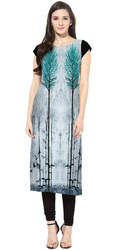 Trendy Half Sleeve Digital Printed Kurti
