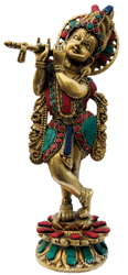 Brass Krishna Statue Stone Work Indian God Idol Figurine