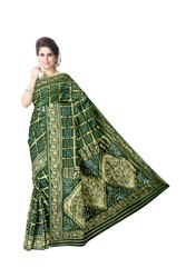 All Over Green Color Fancy Design Art Gaji Silk Bandhani Saree