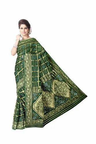 All Over Green Color Fancy Design Art Gaji Silk Bandhani Saree