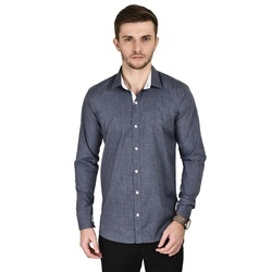 Cotton Casual Men Grey Shirt