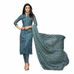 Rajnandini Dark Blue Chanderi Silk Printed Semi-Stitched Dress Material With Printed Dupatta